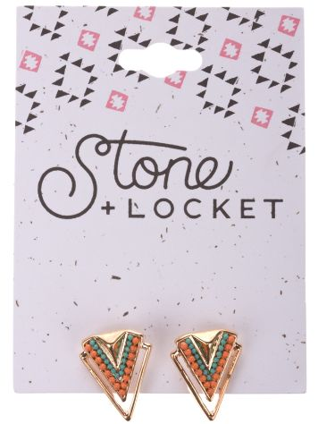 Stone and Locket Chevron Earring