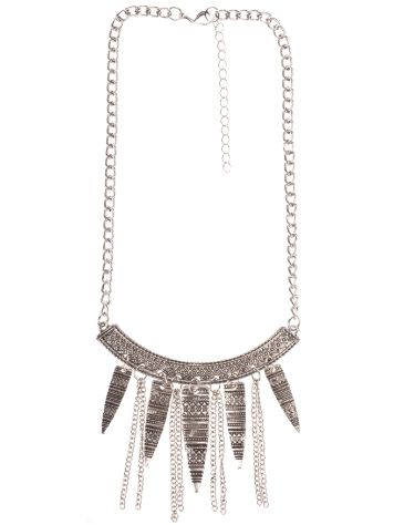 Stone and Locket Silver Statement Necklace