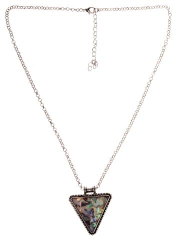 Stone and Locket Silver Triangle Necklace