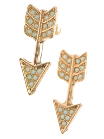 Stone and Locket Mint/Gold Arrow Earrings