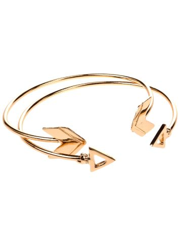 Stone and Locket Gold Arrow Cuff