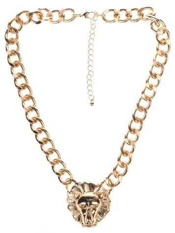 Stone and Locket Lion Head Gold Chain Necklace