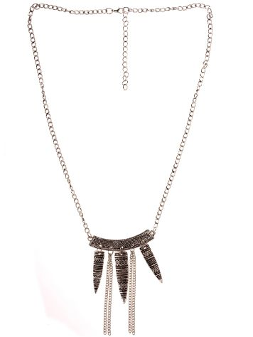 Stone and Locket Silver Tribal Etch Spike