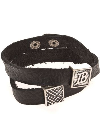 Icon Brand Flat Black Leather Bracelet