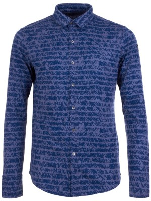super.natural Mountain Printed Shirt LS stone blue / sketch stripe Gr. M