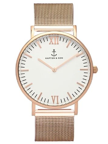 Kapten&Son Campus Rose Gold Silver White 40mm Horloge