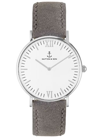 Kapten&Son Campina Grey Suede Leather White 36mm Reloj
